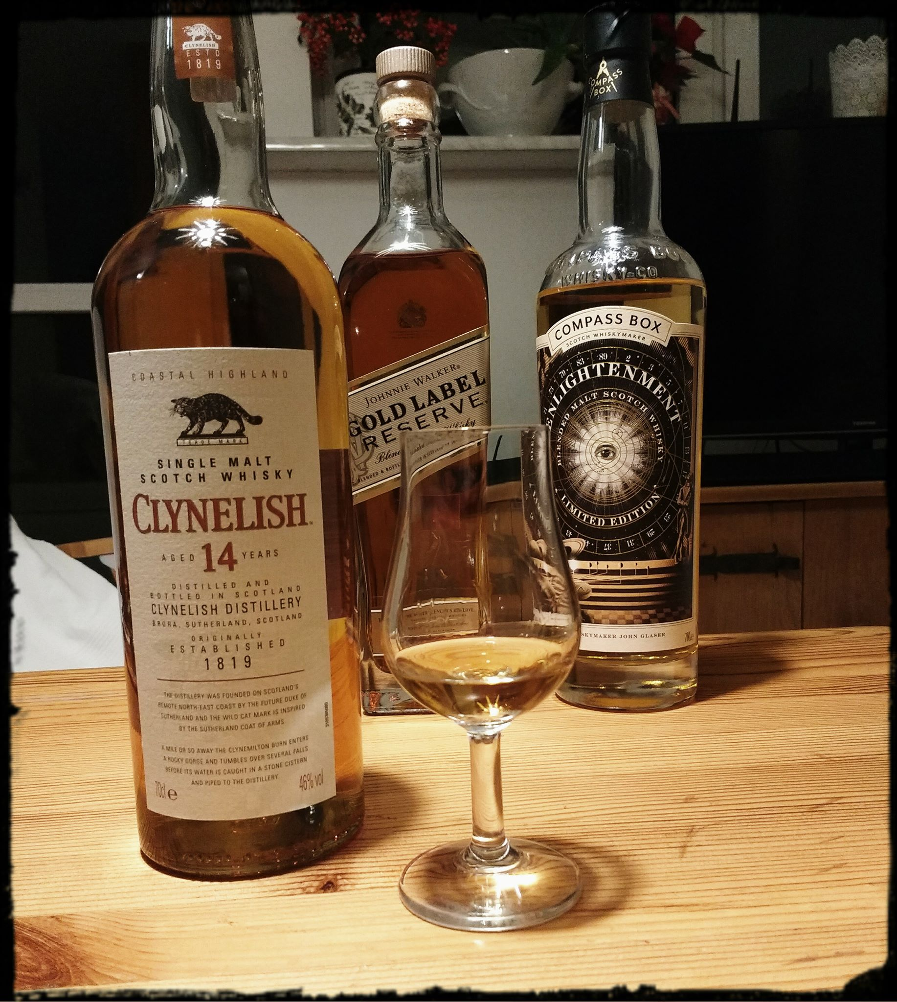 Clynelish 14 yo, JW Gold Label Reserve, Compass Box Enlightenment